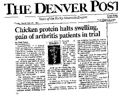 Chicken protein halts swelling, pain of arthritis patients in trial.